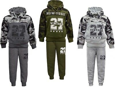 Boys Tracksuit Jogging Suits Army Camouflage Style Hoodie & Joggers Ages 3-14 Yr
