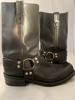 Double H Men's Black Leather Harness Boots  US Size 11