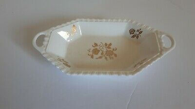 Spode England Bone China White Gold Flower Print Octagon w/ Handle Ceramic Dish