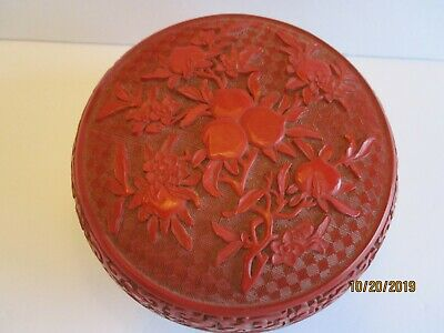 Vtg Chinese Hand Carved Cinnabar Round Flower Box Container REDUCED!