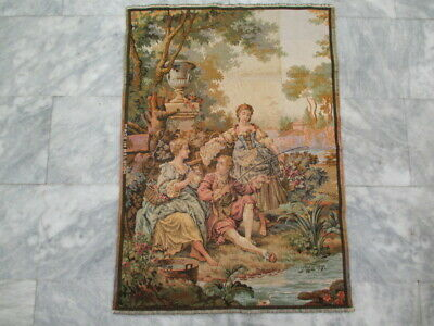 6319 - Old French / Belgium Tapestry Wall Hanging - 100 x 70 cm