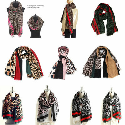 Ladies Leopard Animal Print Scarf Large Pashmina Stole Silky Tassels Shawl Wraps
