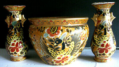 2 Cloisonne Vases & Matching Rose Bowl China Phoenix Peacock Gold Moriage Lovely