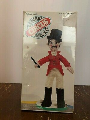 Vintage Circus Ringmaster Crochet Doll Kit by Vogart Crafts Factory Sealed