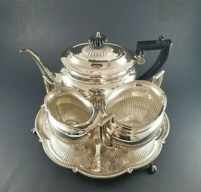 Antique English Four Piece Silver Plate Tea Set With Tray Free Priority Ship U.S