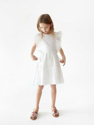 Zara Kids Girl Dress With Swiss Embroidery White 4322/600 Sz 6 NWT