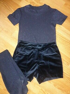 Next Girl's Navy Sparkle Top, Shorts And Tights Size 7-8 Years