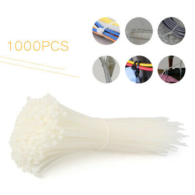 "1000 PCS 8"" White Network Cable Cord Wire Ties Strap Zip Fasten Wrap Nylon New"