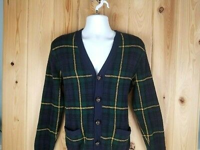 Vintage Polo Ralph Lauren Lambswool Leather Patches Cardigan Sweater Size Small