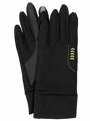 Isotoner Smart Touch Womens Black & Green Stretch Smartouch Text & Tech Gloves