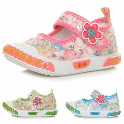 Girls Kids Toddler Sequin Glitter Mary Jane Shoes Plimsoles Trainers Pumps Size