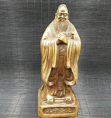 Chinese Archaize Confucius Brass Buddha Statue Decoration