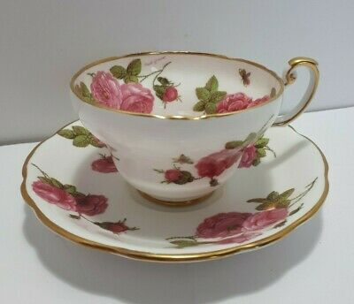 Foley Tea Cup and Saucer Century Rose Signed Paul Granet - Beautiful Wild Rose