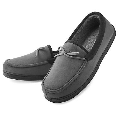 Men's Moccasin Slippers Memory Foam House Shoes Indoor/Outdoor Anti-Slip Sole