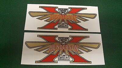 Henderson Excelsior Motorcycle Tank decal set of two Water Slide CHOICE Color