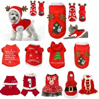 Dog Cat puppy SMALL Pet Christmas Jumper Santa Elf vest Clothes S/M/L T shirt