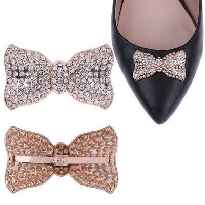 1Pc Rhinestone bowknot metal shoes clip buckle women shoe charm accessories NT