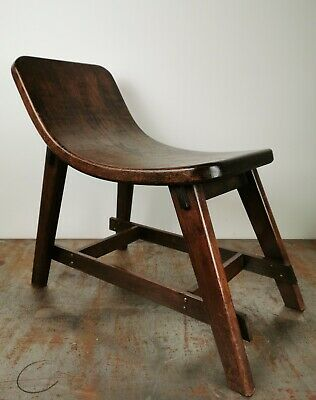 20th Century Antique Oak Bentwood Arts And Crafts Stool
