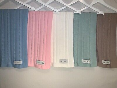 100% Cotton Baby Cable Knit Blanket Comfort Blanket,tCrib Pram Cot Bed 70 x 90cm