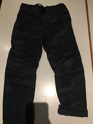 Boys Trousers 4-5y Camouflage Combat Army Black Grey Pull On George