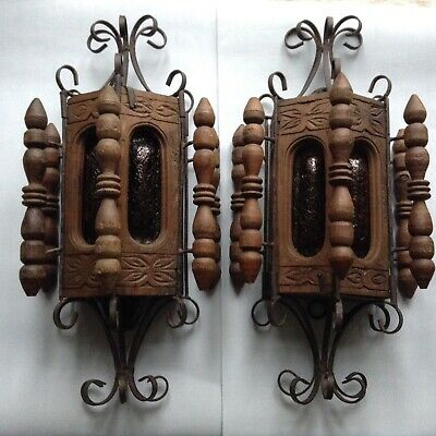 2 Antique Vintage Oak Iron Church Chapel Gothic Wall Light Fitting Amber Glass