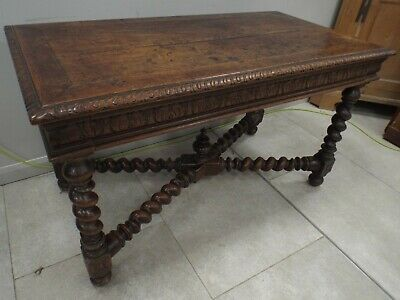 Lovely Antique Solid Oak Writing Table Desk Great Colour