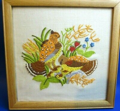 Vintage Quail Birds+ Flowers Completed Crewel Embroidery Picture Framed Boho