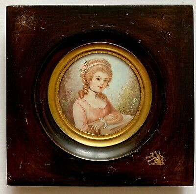 ANTIQUE FRENCH 19TH Century Miniature Portrait of Beautiful Noblewoman