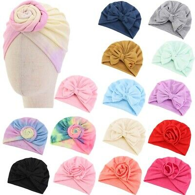 Baby Girls Newborn Toddler Kids Turban Cotton Beanie Hat Cap Headwear Headband