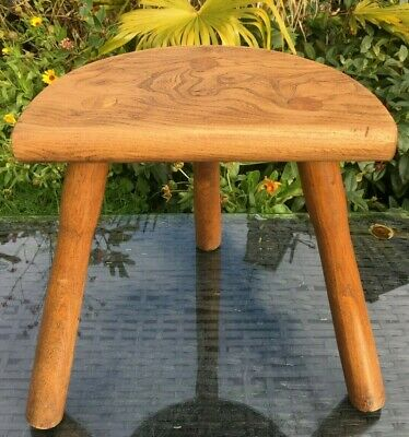 Oak Milking Stool Half Moon French Handmade Straight Legs Vintage