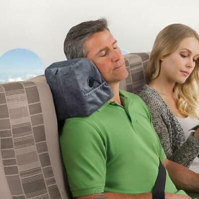 The Lean On Me Travel Pillow Headrest Gray Soft Contoured Curved Washable Cover