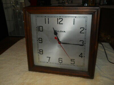 "Vintage Bulova New York Usa Wood Box Electric Mantle Or Wall Clock 16"" X 16"""