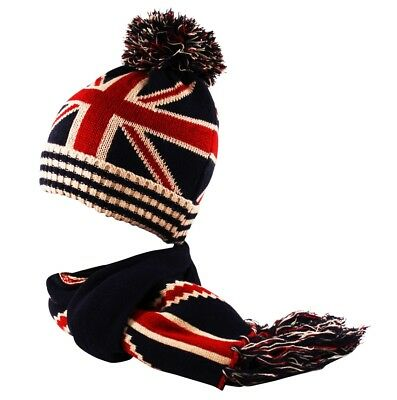 GREAT BRITAIN UNION JACK FLAG Beanie Scarf Fingerless Mittens Gloves Combo Set
