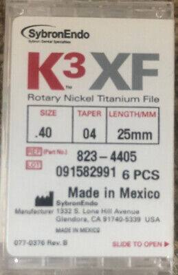 K3 XF size 40 Taper 04 25 mm Rotary Nickel Titanium Endodontic File SybronEndo
