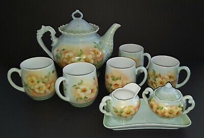 Hand Painted Signed Orig. Floral Design Porcelain 11 Pc. Tea Coffee Pot Set 1975