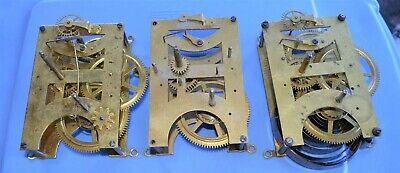3 Antique Seth Thomas Clock Movements Time only Parts Repair