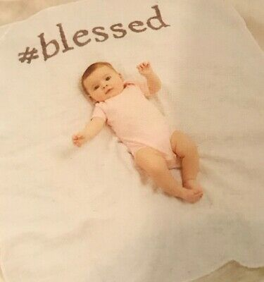 Mud Pie Baby Announcement Photo Blanket Blessed  Muslin  New