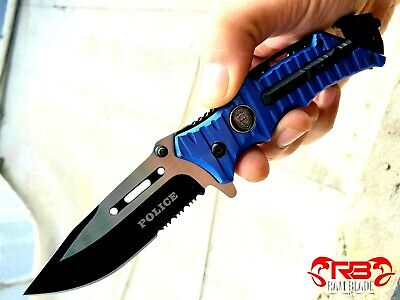 """8"""" BLUE POLICE SPRING TACTICAL RESCUE Assisted Open Folding Blade Pocket Knife"""