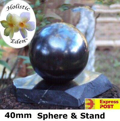 30mm Shungite Sphere + Stand, EMF Protection, Air Purifier Crystal Health Stone