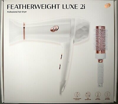 T3 White Featherweight Luxe 2i Professional Hair Dryer With Brush Gold Trim New