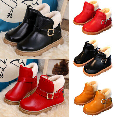UK Kids Boys Girls Fur Lined Ankle Boots Winter Warm Flat Comfy Snow Shoes Size