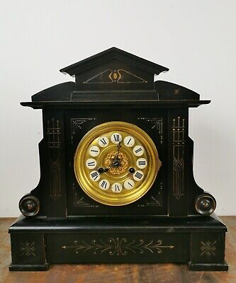 Superb Victorian Slate Effect Mantle Wooden Clock With Brass Face