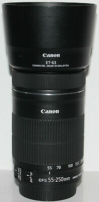 Canon EF-S 55-250mm f/4-5.6 IS STM lens & hood [excellent condition]