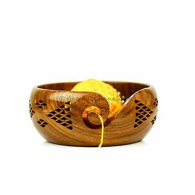 Crafted Yarn Storage Bowls Decorative Carved Handmade Knitting Crochet NGN34