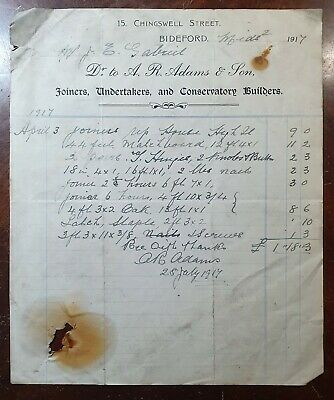 1917 A. R. Adams & Son, Joiner & Undertakers, 15 Chingswell St, Bideford Invoice