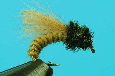 12QTY GOLD BEAD CADDIS PUPA OLIVE Fly Fishing size14