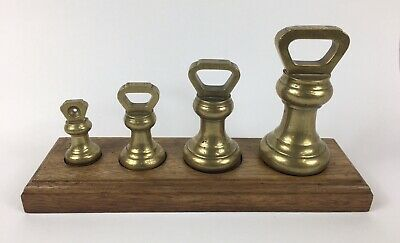 Antique set of brass bell weights. 4lb - 8oz, With Stand, W&T Avery Ltd
