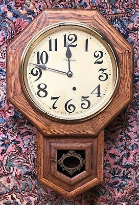 Antique Ansonia Solid Oak Schoolhouse Short Drop Wall Clock, Time Only