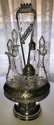 Antique Victorian Rotating Cruet - Castor Set - Meriden 5 Bottles 67 Decorated