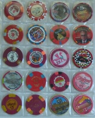 $5 Casino Chips LAS VEGAS (most) & US - LOT of 20 Diff CHIPS - Harrah's, Sahara
